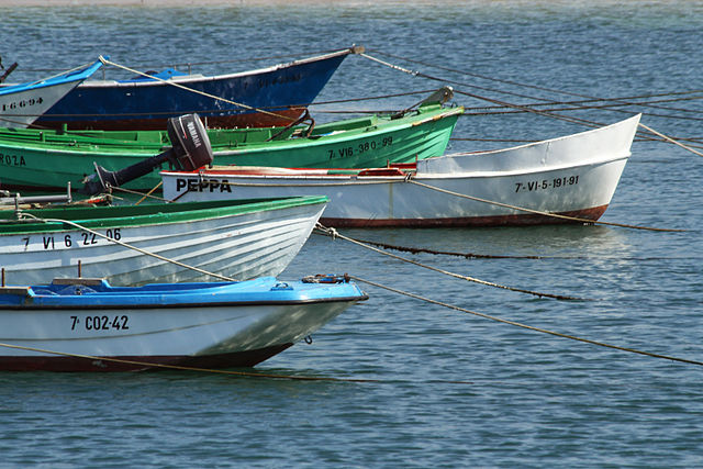 Zirrimarran olatuak, katean ondo lotu txalupak (Wikimedia Commons)